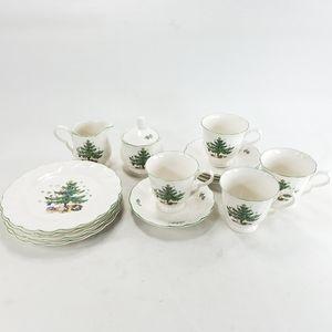 Nikko Japan Christmas Plates Saucer & Cups Vtg Set